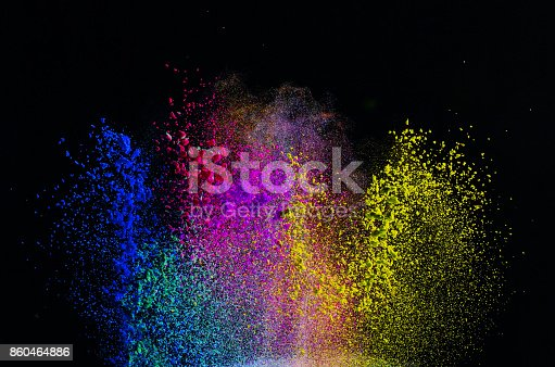 istock Freeze motion of colored dust explosion 860464886