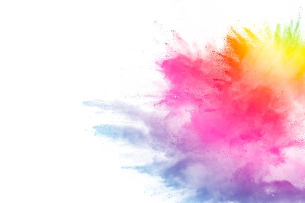 figer le mouvement des explosions de poudre colorée isolé sur fond blanc - cérémonie d'ouverture photos et images de collection