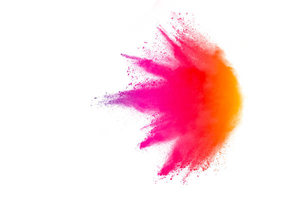 freeze motion of colored powder explosions isolated on white background - abstract multicolored powder explosion stock photos and pictures