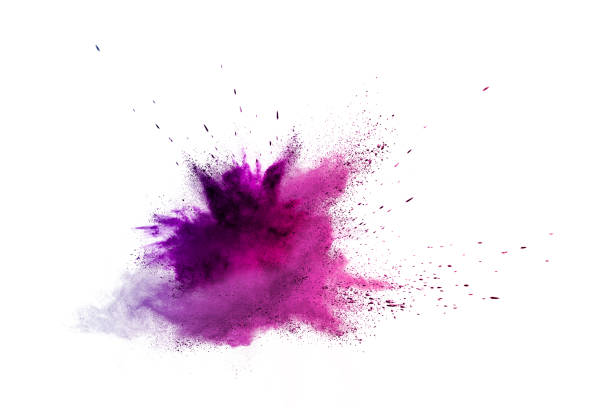 Freeze motion of colored powder explosions isolated on white background stock photo