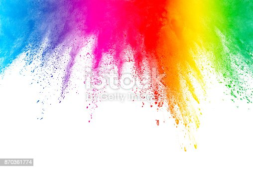 istock Freeze motion of colored powder explosions isolated on white background 870361774
