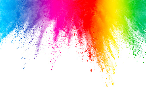 Freeze motion of colored powder explosions isolated on white background