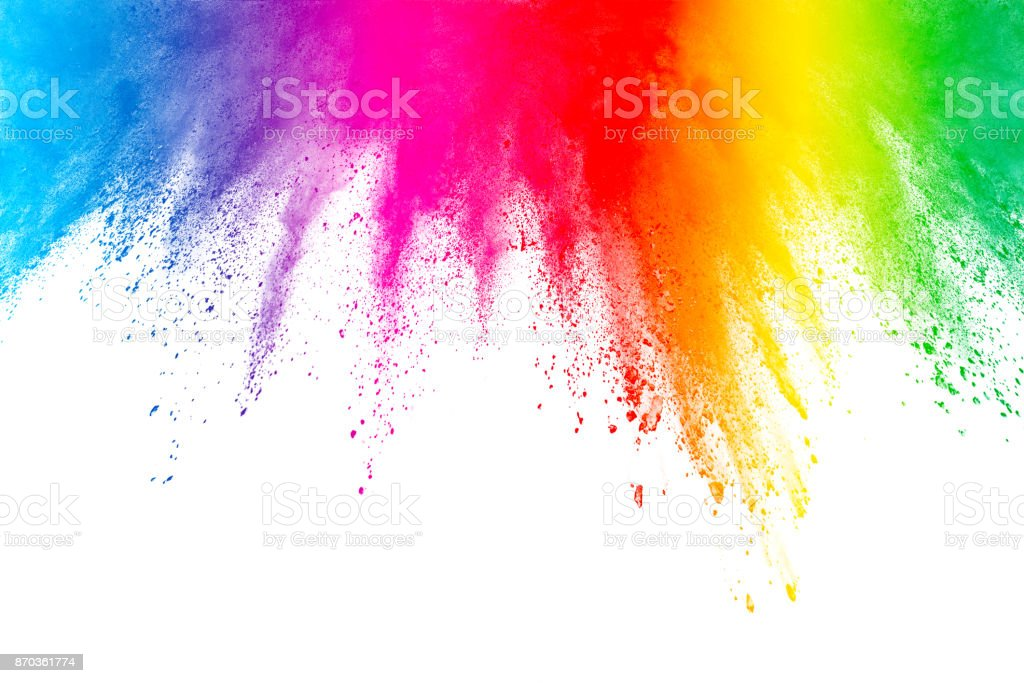 Congelar o movimento de explosões de pó colorido isolado no fundo branco - foto de acervo