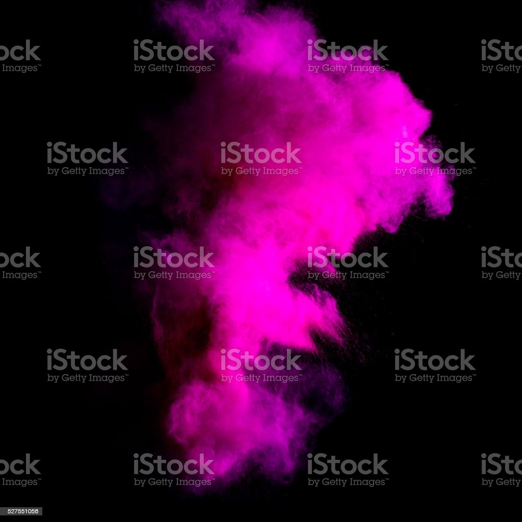 Freeze motion of purle dust explosion stock photo