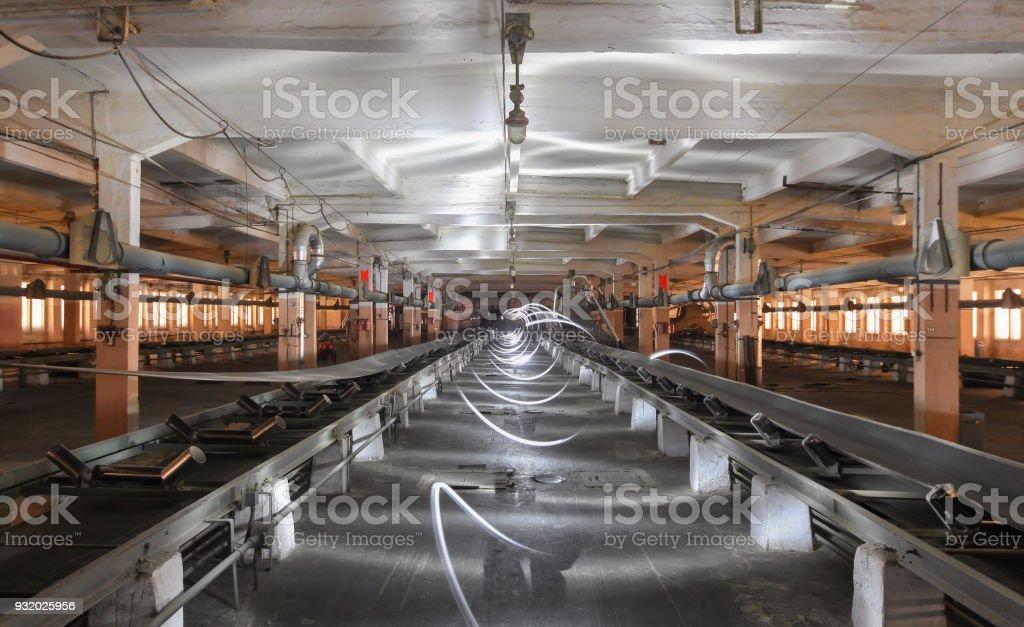 Freezelight in an industrial building between an empty conveyor belts stock photo