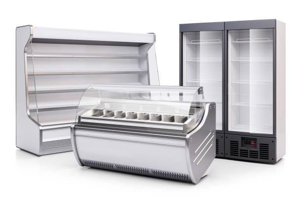 freezer showcase, refrigerated cabinet and fridge showcase - prodotti supermercato foto e immagini stock