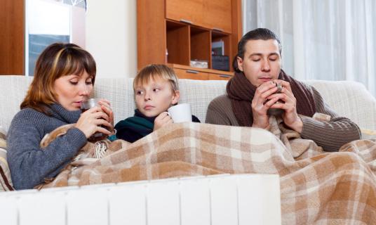 Congelación Familia De Tres Temperaturas Cerca De Cálida Radiador Foto de stock y más banco de imágenes de Adolescente