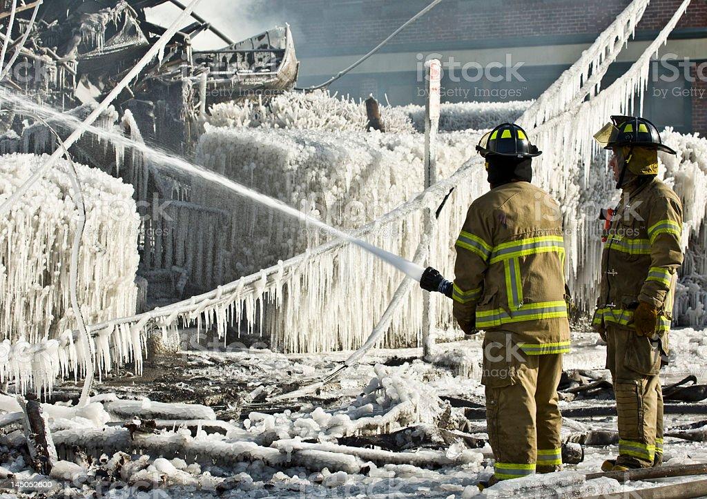 Freezing Firefighting royalty-free stock photo