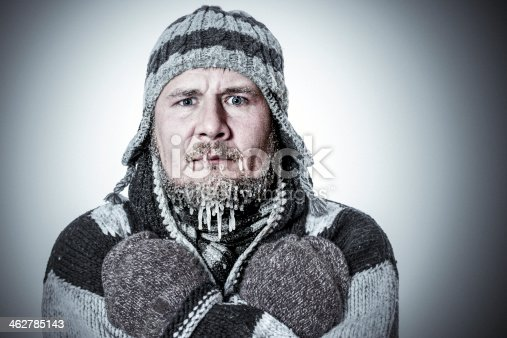 Portrait of the man freezing, with real icicles hanging from his beard and mustache.
