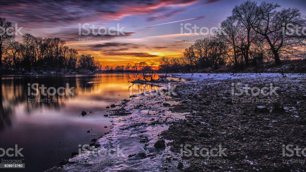freezing river stock photo