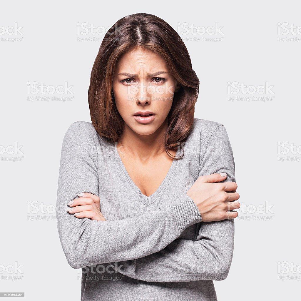 Freezing woman stock photo