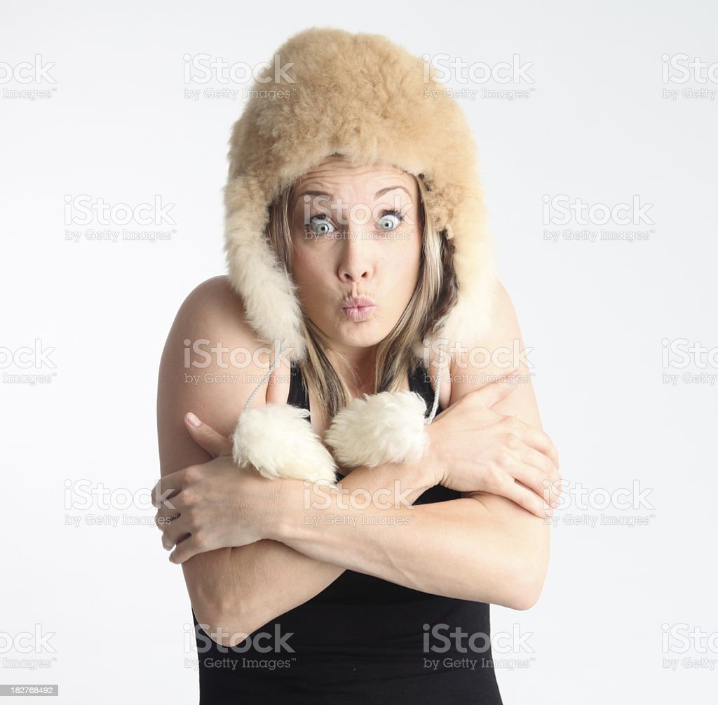 Freezing Young Woman royalty-free stock photo