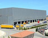 Trucks near warehouse