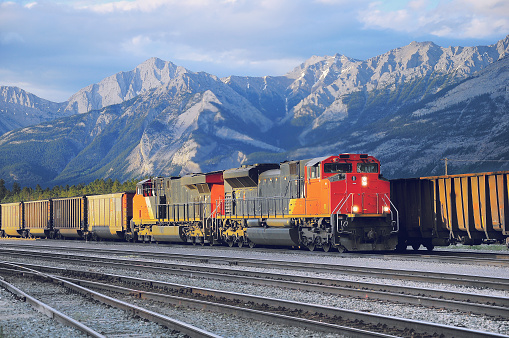 Freight container train in Jasper. Alberta. Canada.