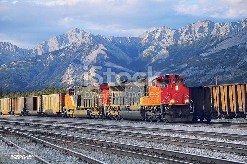 Freight container train in Jasper. Alberta. Canada.
