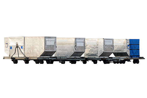 Freight containers for passenger baggage. stock photo