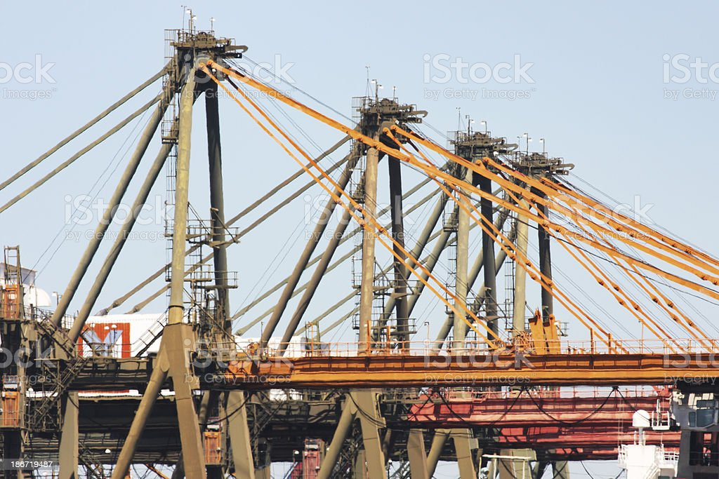 Freight Cranes Loading Quayside Freighters royalty-free stock photo