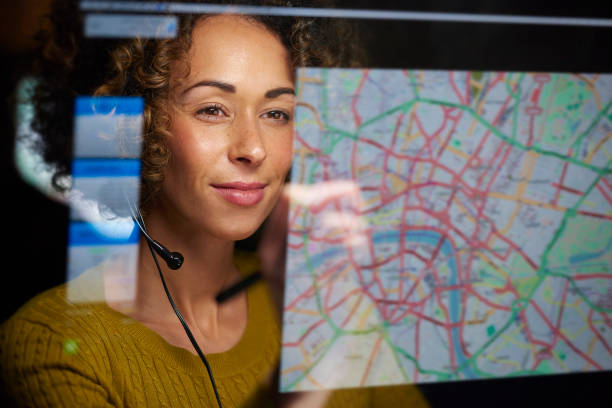 freight dispatcher with digital display stock photo