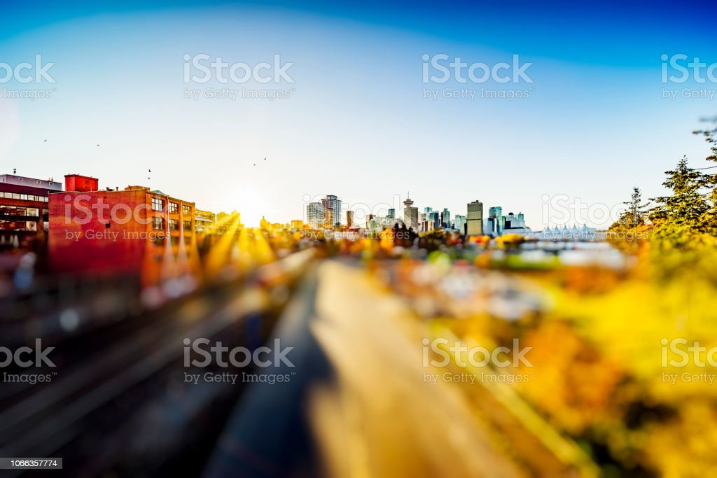 Freight lines with Vancouver city skyline,elevated view,Canada.