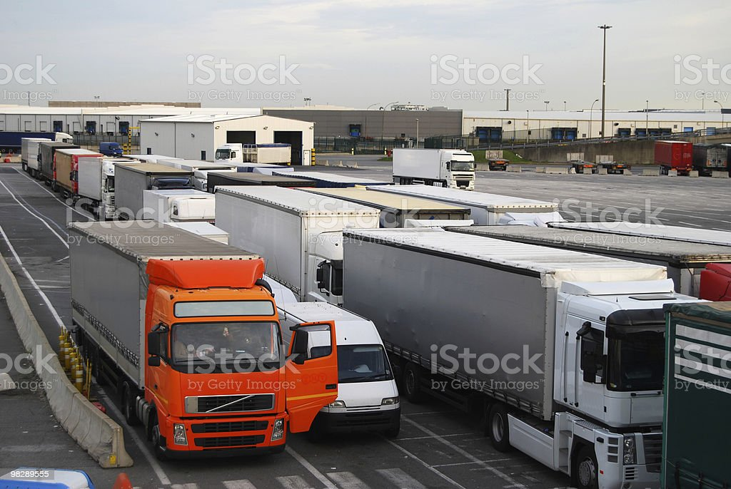 Freight lorries waiting for Cross Channel Ferry royalty-free stock photo