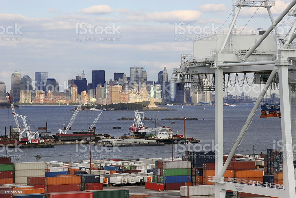 Freight overlooking New York, landscape view stock photo