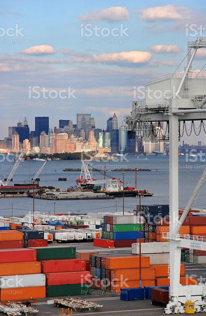 Freight overlooking New York stock photo