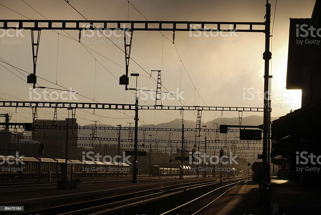 freight railway depot in morning mist royalty-free stock photo