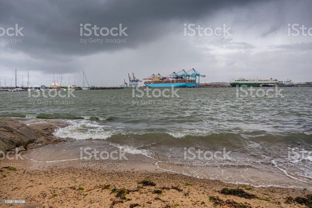 Freight ship in Gothenburg harbor stock photo