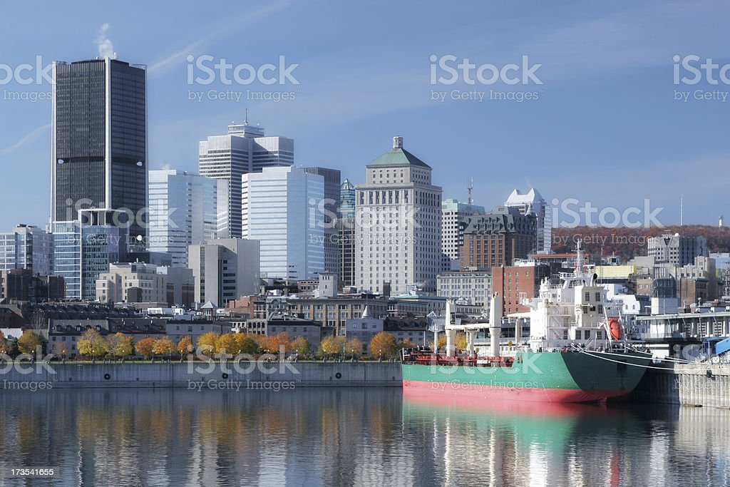 Freight ship in Montreal City Port royalty-free stock photo