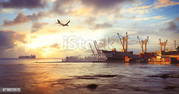 istock Freight ship in the harbor 679820570