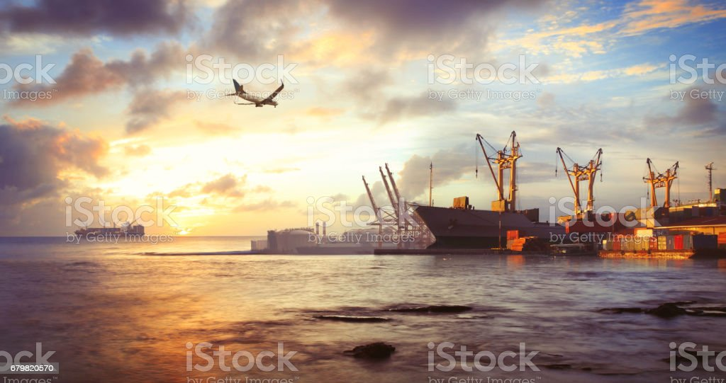 Freight ship in the harbor stock photo