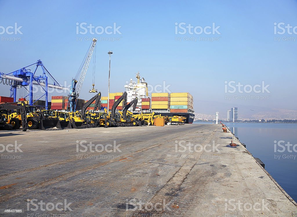 Freight ship moored in harbour royalty-free stock photo