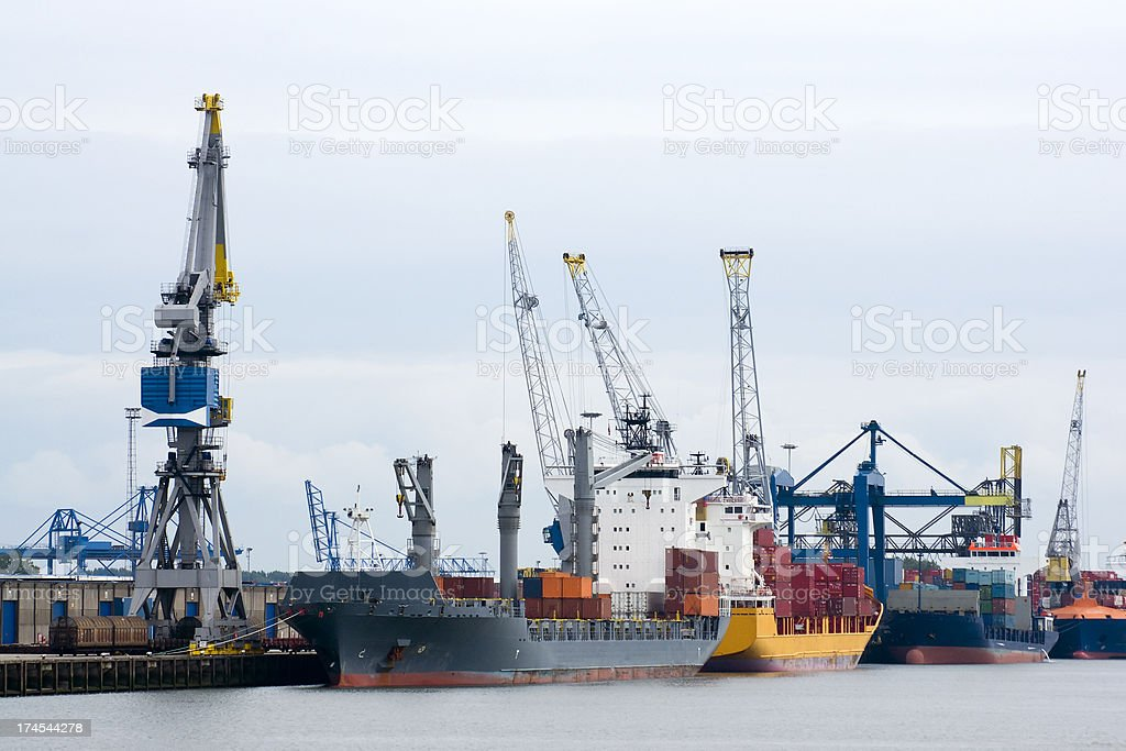 Freight ships in Rotterdam Harbor royalty-free stock photo