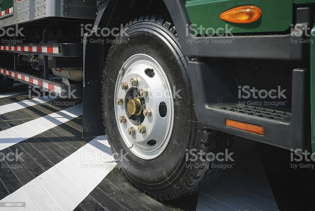 Freight traffic, Tire and Wheel stock photo