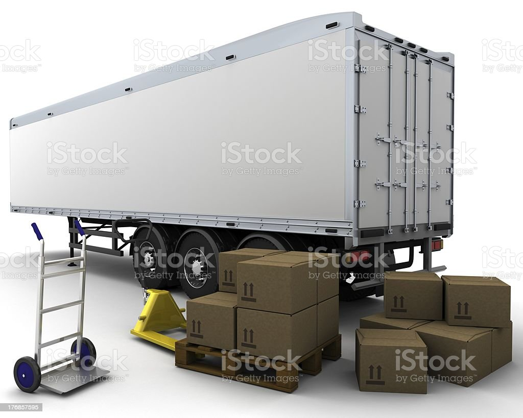 freight trailer and shipping boxes royalty-free stock photo