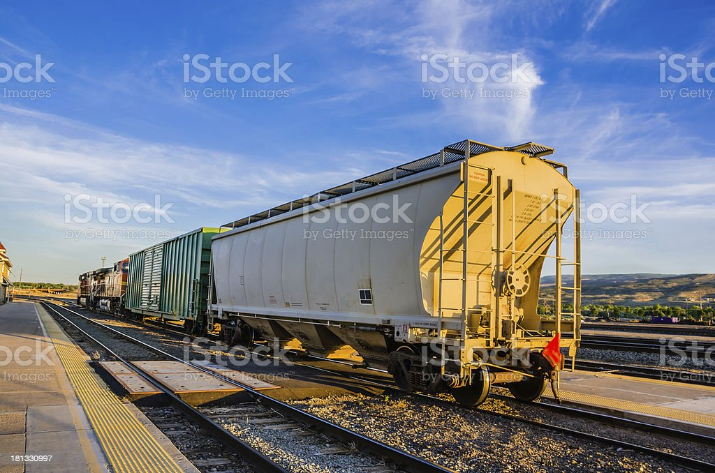 Freight Train at Sunset royalty-free stock photo