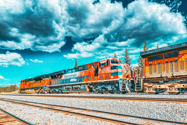 Freight train BNSF Railway Companies on a sunny day in Arizona. stock photo