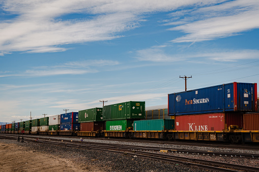 Train freight lined up on tracks