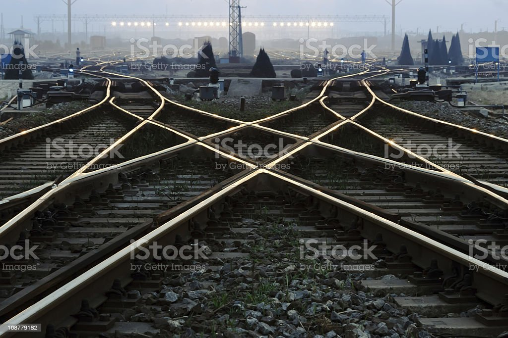 Freight train field under the curtain of night, royalty-free stock photo