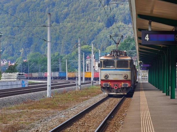 Freight train in Sinaia railway station, Romania stock photo