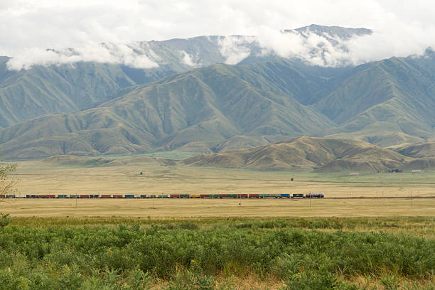 freight train in the desert freight train in the foothills of Kazakhstan on the border with China steppe stock pictures, royalty-free photos & images