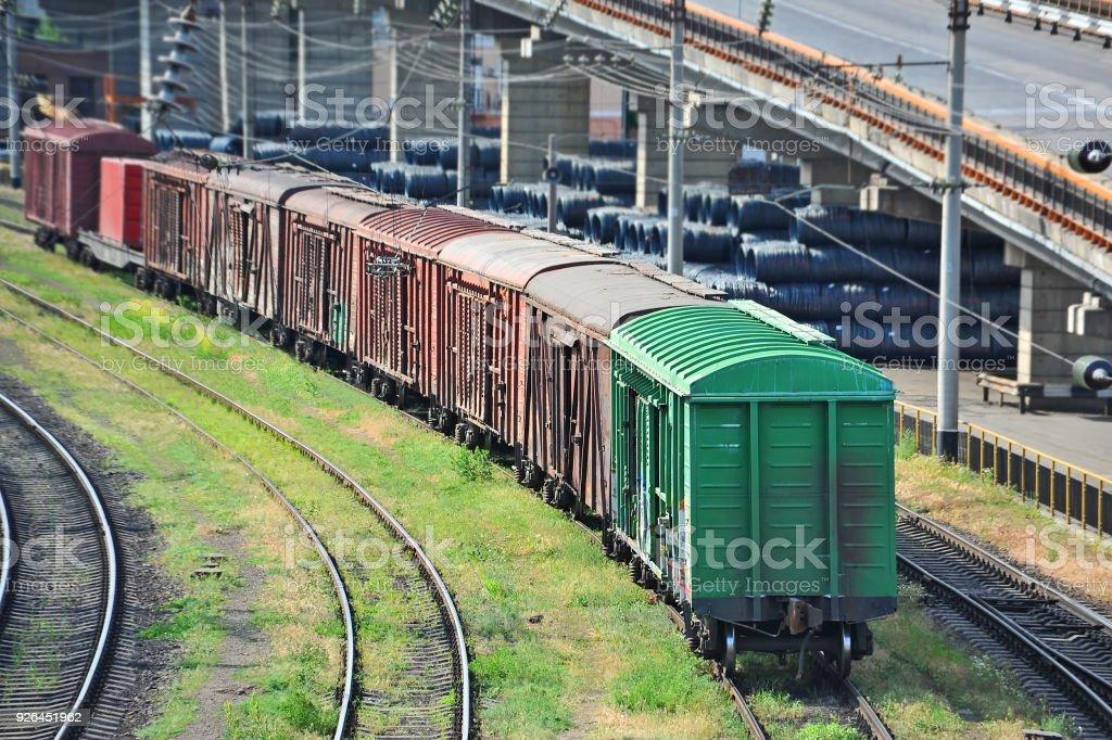 Freight train on railway stock photo