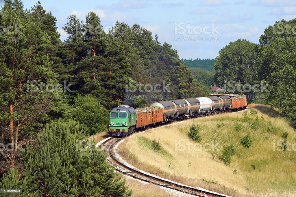 Freight train passing the forest royalty-free stock photo