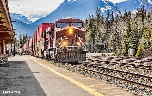 A freight train passing through Banff, Alberta