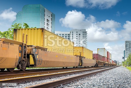 Full train cargo car running on tracks.