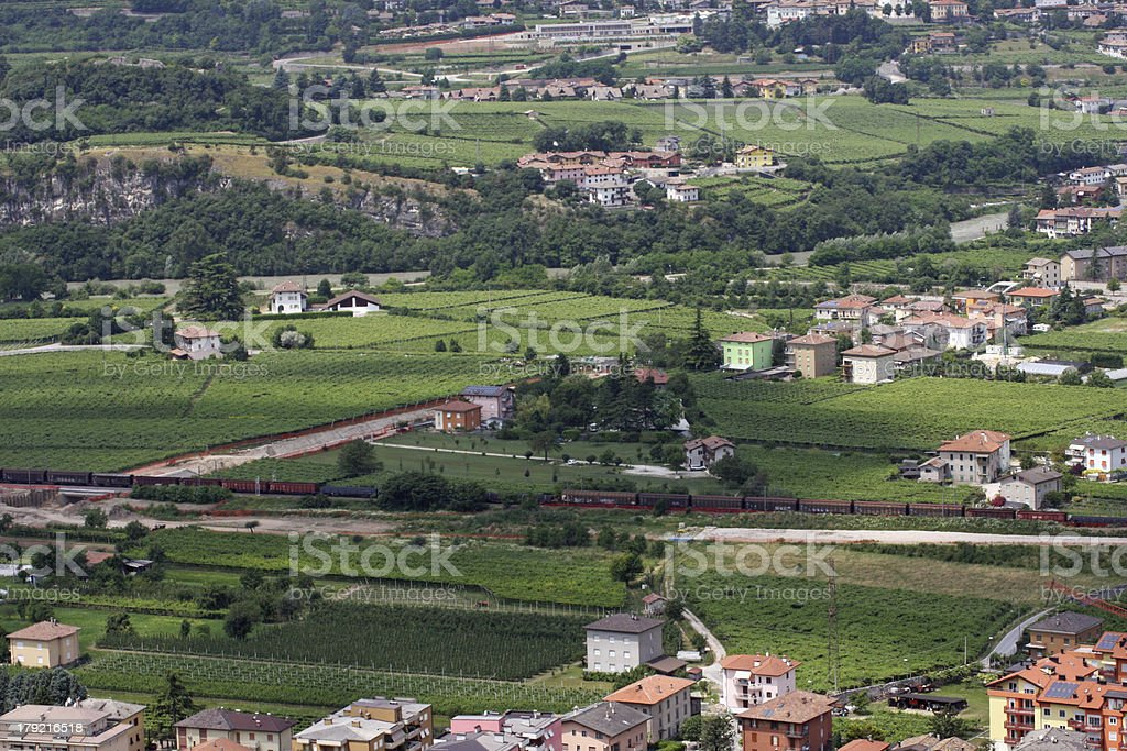 freight train that traverses the countryside royalty-free stock photo