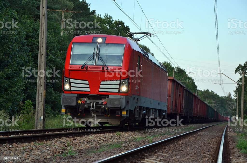 Freight train travelling across the Europe royalty-free stock photo