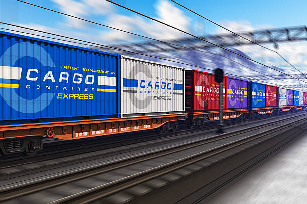 freight train with cargo containers in winter - godståg bildbanksfoton och bilder