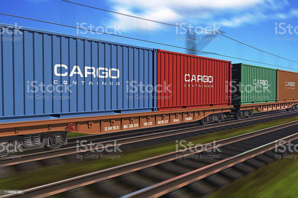 Freight train with cargo containers stock photo