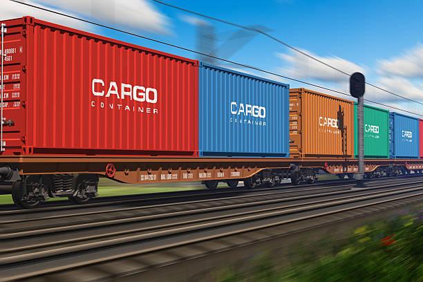 freight train with cargo containers - järnvägsvagn tåg bildbanksfoton och bilder